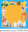 Flat design, Indian's icons and landmarks, vector 52981450
