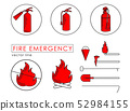 Fire emergency set of icons in line technique  52984155