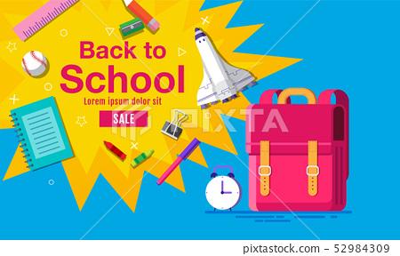 back to school sale banner, poster, flat design 52984309