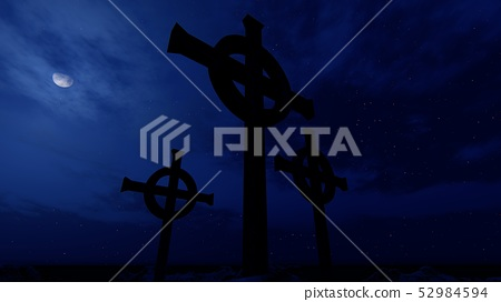 Gothic crosses at night with moon and clouds 52984594