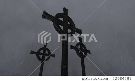 Gothic crosses with rain and fog 52984595
