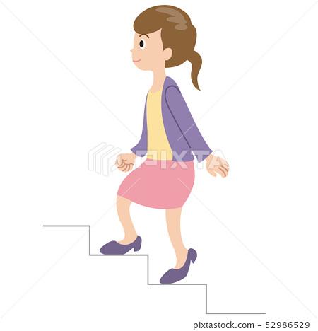 Person Woman Climbing Stairs Stock Illustration 52986529 Pixta
