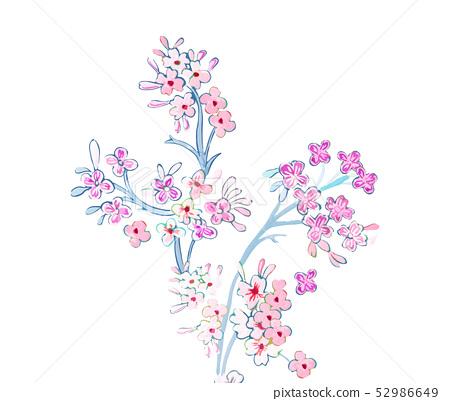 優雅的美麗的五顏六色的花卉插畫 52986649