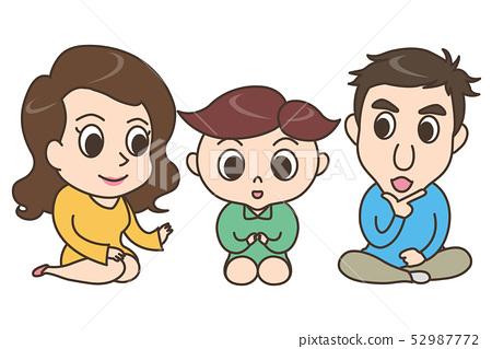 인물 / 앉아있는 3 명의 가족 52987772