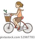 인물 / 자전거를 타고있는 쇼핑을 한 여성 52987783