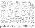 Men clothes and accessories set in doodle style. 52988021