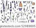Lavender set composition in doodle style. 52989605