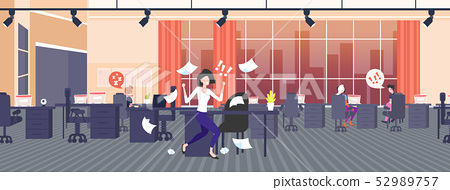 businesswoman throwing paper sheets angry emotional business woman screaming on workers bad job 52989757