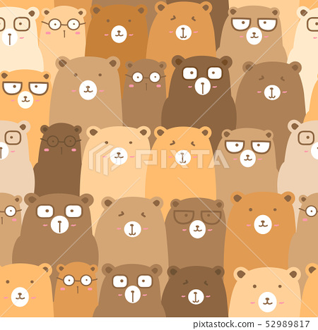 Seamless pattern with cute bear background. 52989817