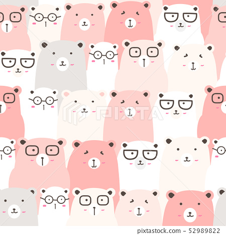 Seamless pattern with cute bear background. 52989822
