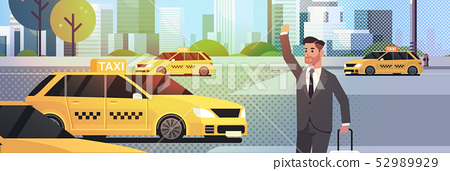 businessman catching taxi on street business man in formal wear with luggage stopping yellow cab 52989929