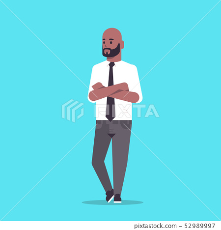 businessman in formal wear folded hands standing pose smiling male cartoon character african 52989997