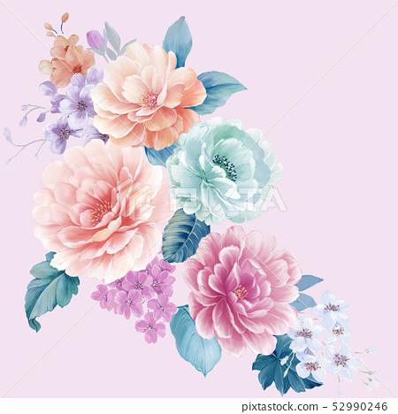 優雅的水彩大花和牡丹花 52990246