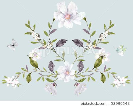 水彩散枝花卉和優雅小花 52990548
