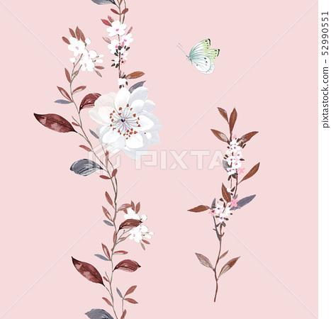 水彩散枝花卉和優雅小花 52990551