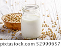 Non-dairy alternative Soy milk or yogurt in mason 52990657