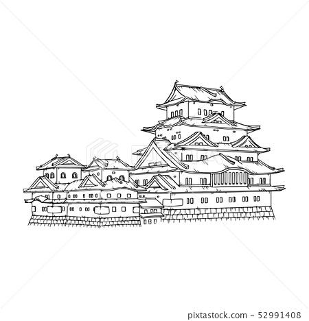 Himeji Castle Japan illustration. 52991408