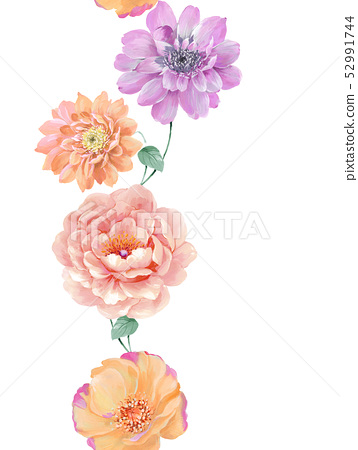 Beautiful watercolor rose and peony flower 52991744