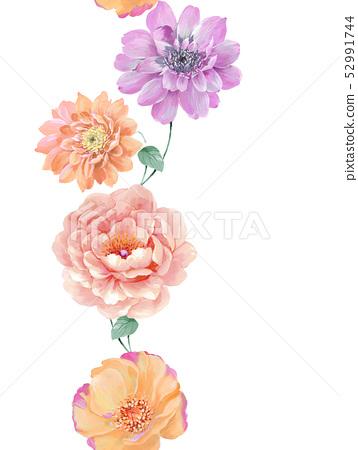 美麗的水彩玫瑰花和牡丹花 52991744