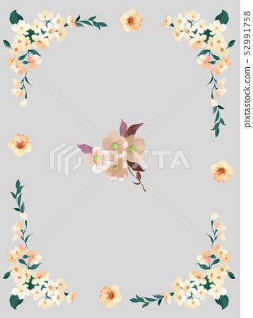 美麗的水彩玫瑰花和牡丹花 52991758