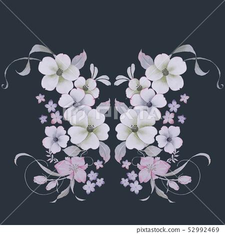 優雅的水彩小花 52992469