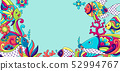 Background with fishes. Mexican ceramic cute naive art. 52994767
