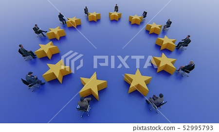 European Union flag politicians sit and discuss 52995793