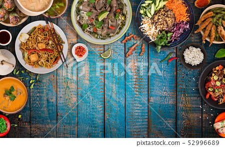 Asian food background with various ingredients on rustic wooden table , top view. 52996689