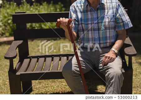 senior man sitting with cane on bench 53000213
