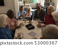 Group of senior friends having breakfast on dining table at nursing home 53000367