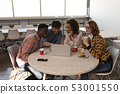Business colleagues discussing over laptop in office 53001550