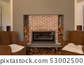 Fireplace in living room at home with chairs  53002500