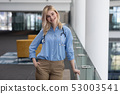 Blonde female doctor leaning on railings in clinic 53003541