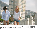Caucasian couple walking on the promenade on a sunny day 53003895