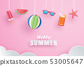 Hello summer with decoration origami hanging  53005647