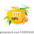 Summer sale banner paper cut template.  53005648