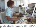 Male graphic designer using graphic tablet 53007055