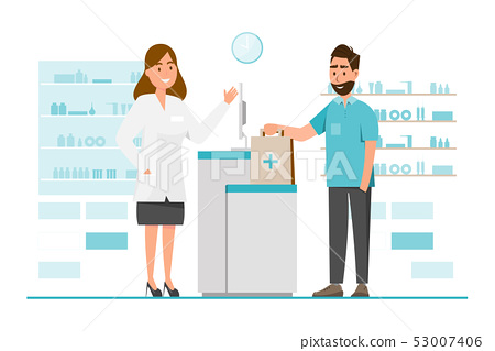 pharmacy with pharmacist and client in counter 53007406