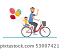 Happy family. father, mother, boy and girl riding 53007421