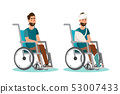 Man sit on a wheelchair with white background 53007433
