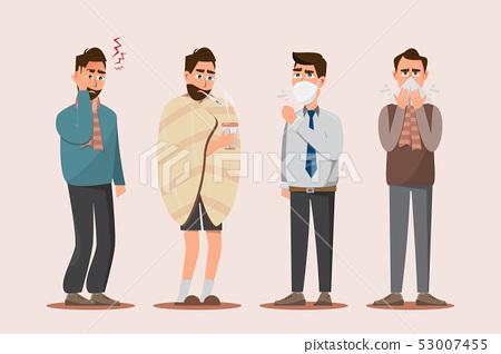 Set of sick people feeling unwell, headache, 53007455