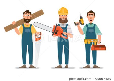 Carpenter, repairman with saw and tools. 53007485