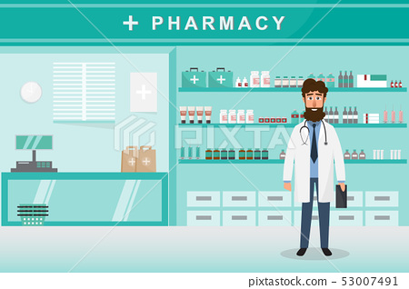 pharmacy with doctor in counter. drugstore cartoon 53007491