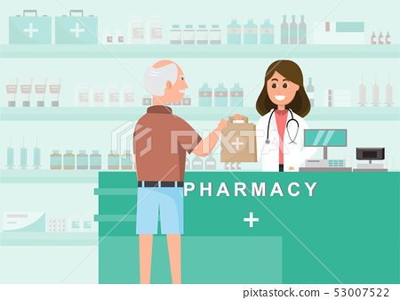 pharmacy with nurse in counter. drugstore cartoon 53007522