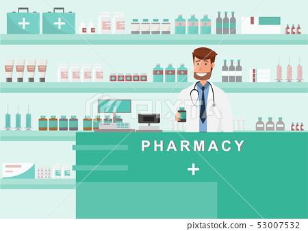 pharmacy with doctor in counter. drugstore cartoon 53007532
