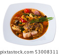 Soup of lamb with rice, vegetables, garlic and onion, served in bowl 53008311