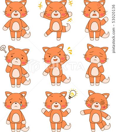 Kitsune可愛的全身吉祥物面部表情姿勢反應集 53020136