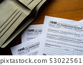 Tax day. The tax form 1040, and empty wallet  is 53022561