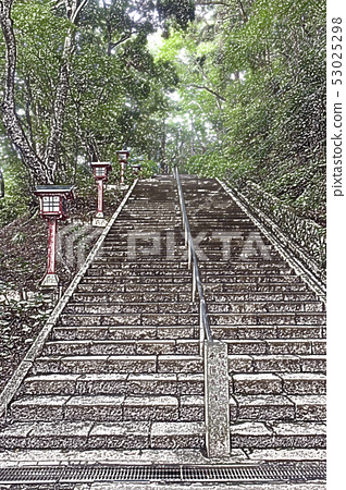 Mt. Takao stairs pastel style 53025298