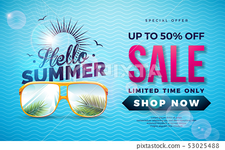 Summer Sale Design with Typography Letter and Exotic Palm Leaves in Sun Glasses on Blue Background 53025488